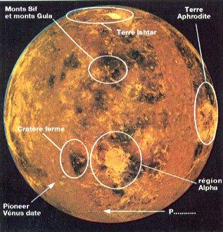 Planisphère de Vénus réalisé par le Jet Propulsion Laboratory de Pasadena à partir des informations envoyées par la sonde Magellan pendant la période 1990-1991